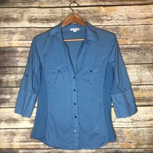Standard James perse contrast panel shirt blue 4
